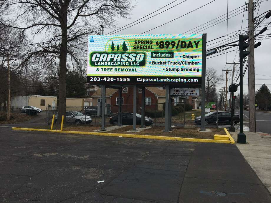 First ad has gone up on digital poster at the corner of Whalley  Avenue and Emerson Street. Photo: Mary O'Leary/ Hearst Connecticut Media