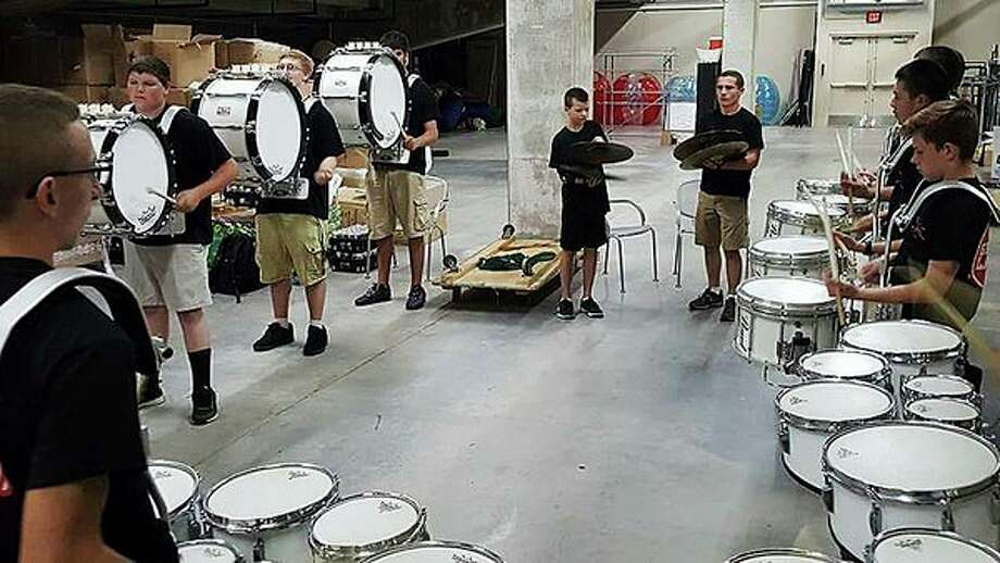 The Resonators 'Loon Platoon' drum line rehearse at Dow Diamond in the summer of 2017. (Photo provided/Chris Sabourin)