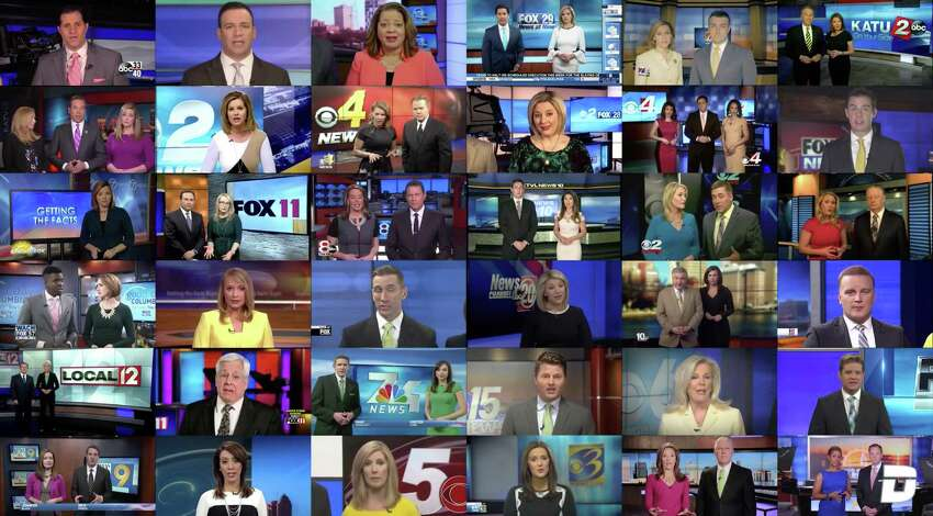 A Deadspin composite video shows Sinclair Broadcast Group stations reading a scripted statement warning against