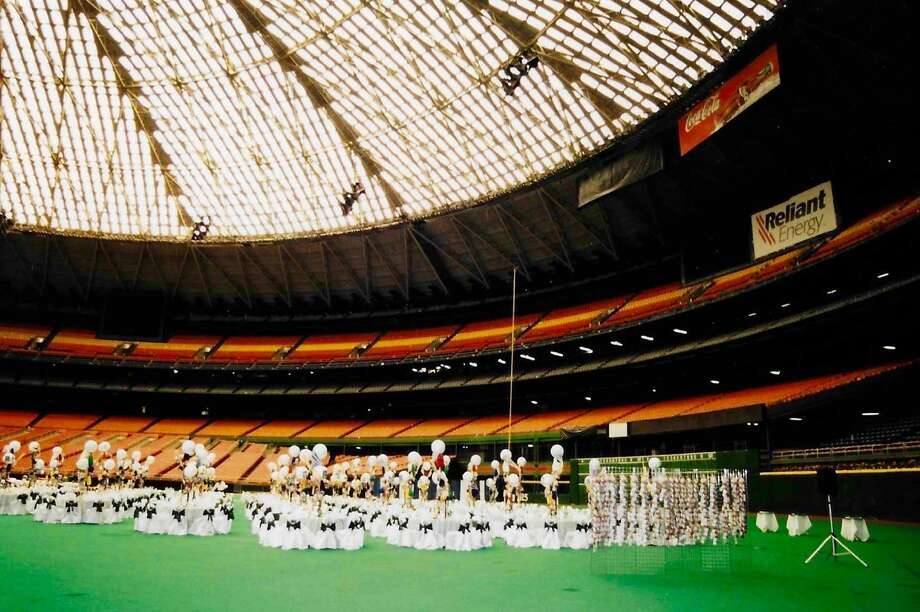 Two guys from Houston, Jeremy Slawin and Evan Mucasey, have one of the best Astrodome stories. Their joint bar mitzvahs were held on the field back in June 2002. Photo: Jordan Slawin