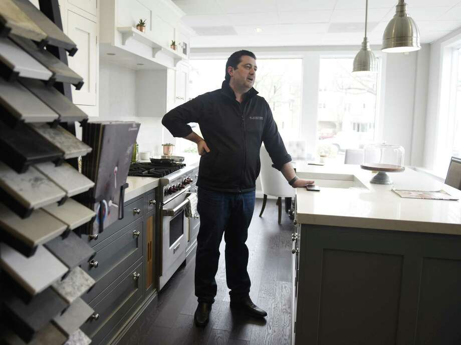 Founder James Russell shows the space inside the new Blackstone Kitchens store in the Riverside section of Greenwich, Conn. Wednesday, March 28, 2018. The UK-based kitchen, cabinet and furniture store is opening its U.S. flagship store in Greenwich to accompany its three UK locations and has plans to add more U.S. stores in the coming years. Photo: Tyler Sizemore / Hearst Connecticut Media / Greenwich Time