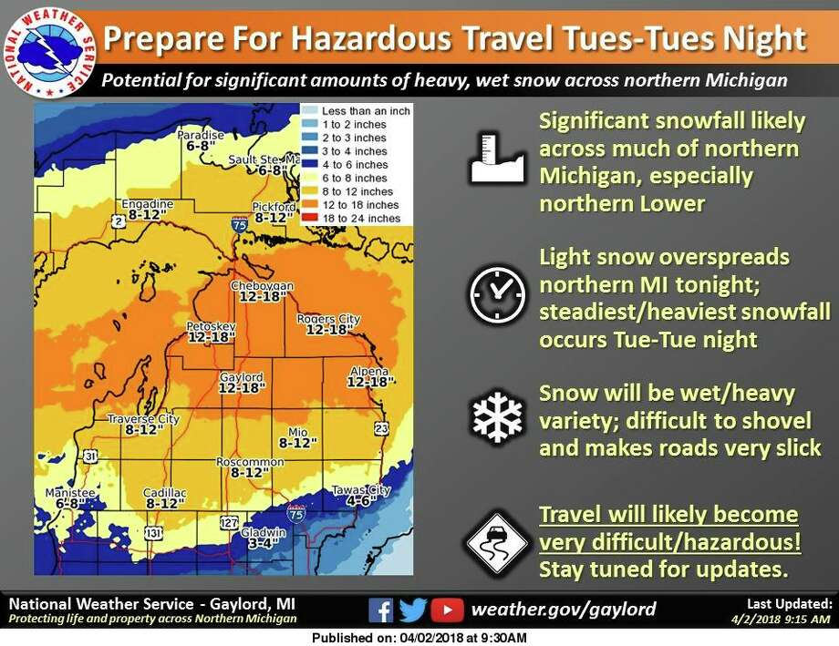 Forecast snowfall amounts will have the potential for 10+ inches across a portions of northern lower Michigan by daybreak Wednesday. Photo: National Weather Service Gaylord