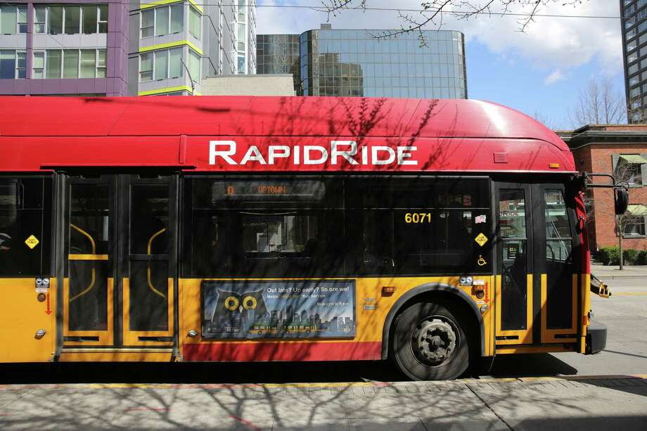A Rapid Ride bus makes a stop on 3rd Avenue, Monday, April 2, 2018. In order to make it more rapid, private vehicles will soon be banned on 3rd Avenue from 6 a.m. to 7 p.m., seven days a week. Photo: GENNA MARTIN, SEATTLEPI.COM / SEATTLEPI.COM