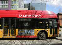 A Rapid Ride bus makes a stop on 3rd Avenue, Monday, April 2, 2018.