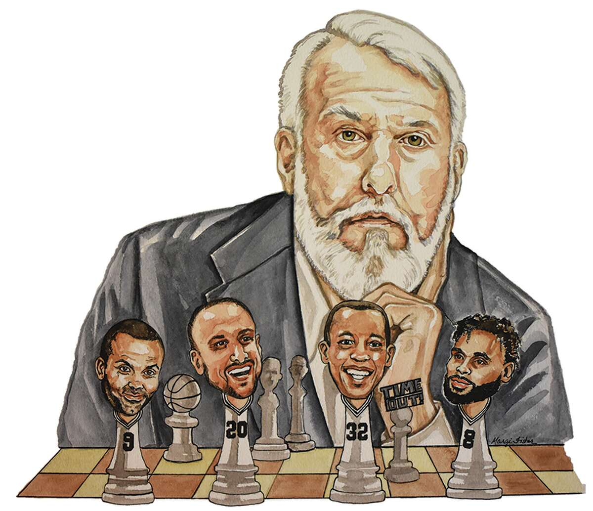Artwork done by Margie Fisher of Spurs head coach Gregg Popovich and some of his players.