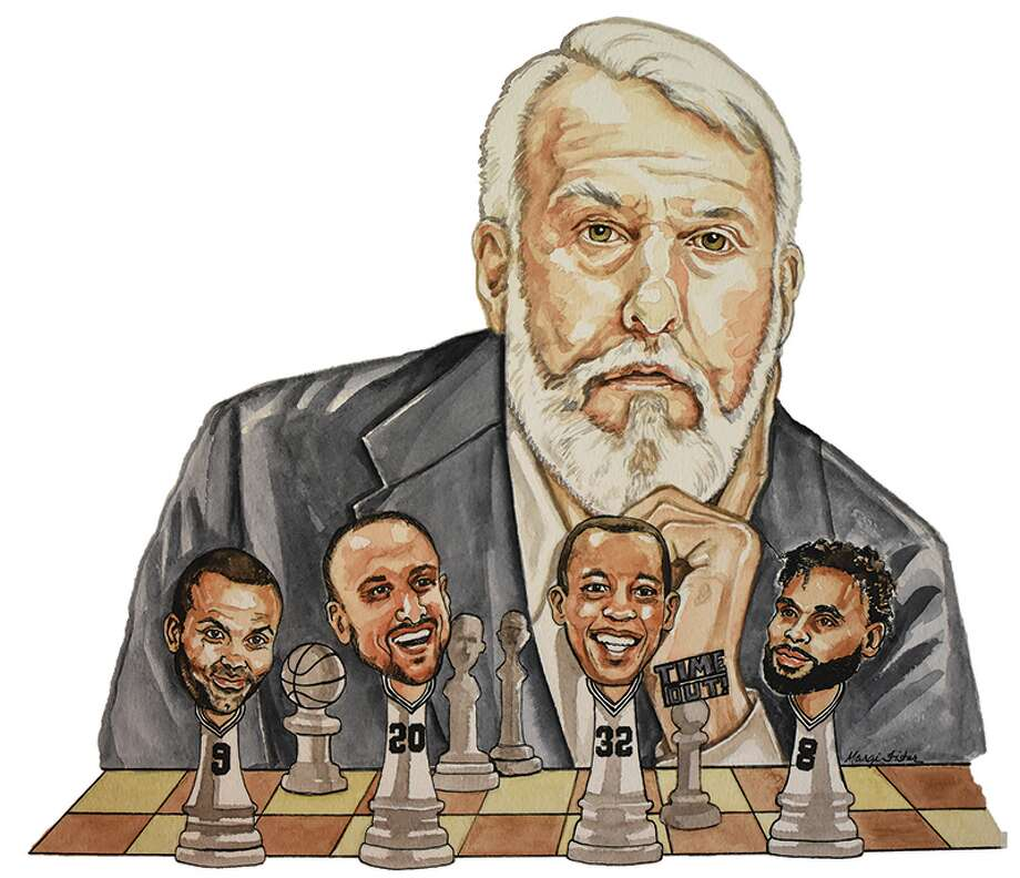 Artwork done by Margie Fisher of Spurs head coach Gregg Popovich and some of his players. Photo: Margie Fisher