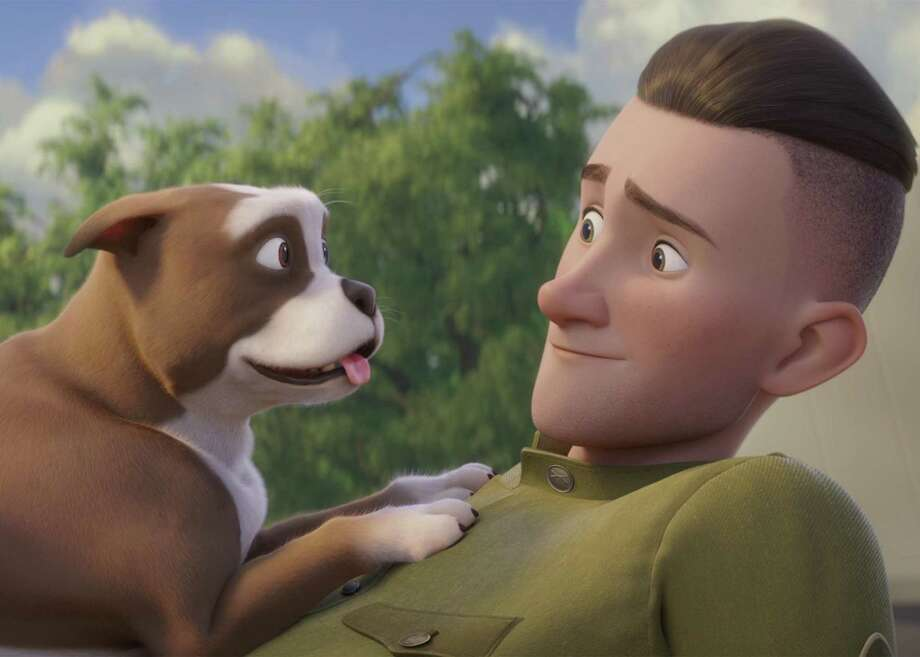 "This image released by Fun Academy Motion Pictures Media Group shows a scene from the animated movie ""Sgt. Stubby: An American Hero."" The film depicts the famous war dog and the soldier who adopted him, J. Robert Conroy. Conroy's grandson is hoping the film, which opens on April 13, 2018, will help him raise money for a bronze statue of the dog. (Fun Academy Motion Pictures Media Group via AP) Photo: Associated Press / Fun Academy Motion Pictures Media Group"