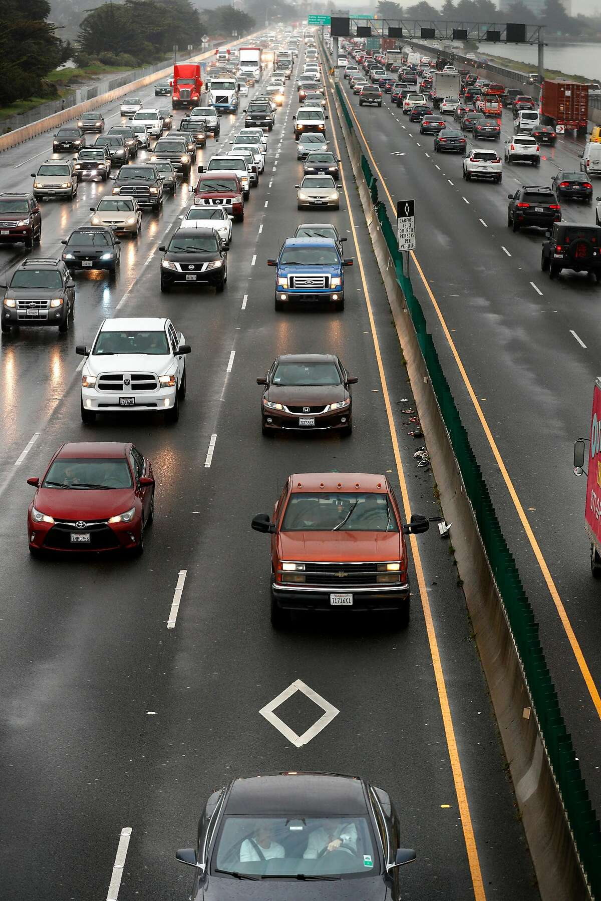 Traffic in the car pool lanes along the interstate 80 freeway in Berkeley, Calif., on Tues. March 20, 2018.
