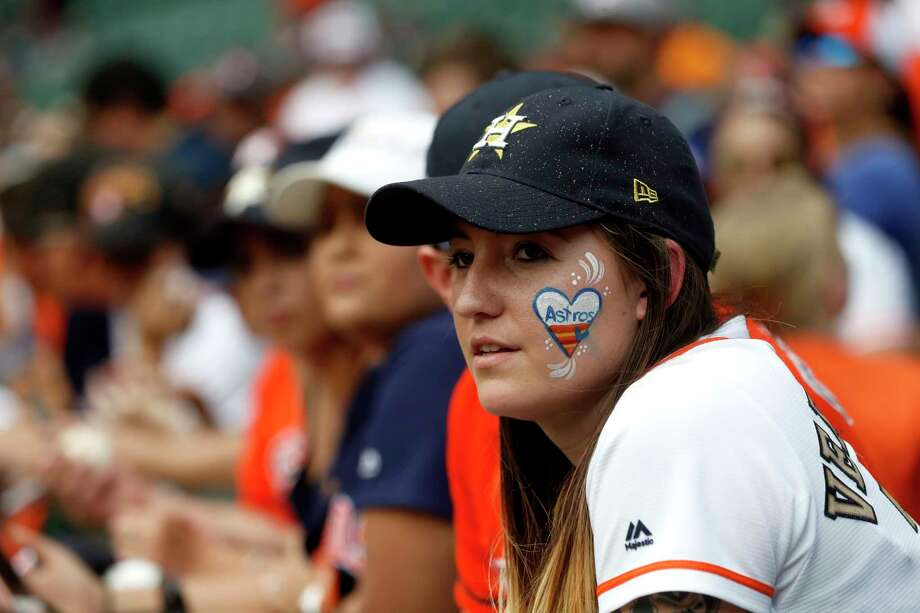 PHOTOS: A look at the Astros fans during all the home-opener festivitiesA Houston Astros fan with her face painted before the start of the home opener during an MLB baseball game at Minute Maid Park, Monday, April 2, 2018, in Houston.Browse through the photos above for a look at Astros fans during the home opener festivities. Photo: Karen Warren, Houston Chronicle / © 2018 Houston Chronicle