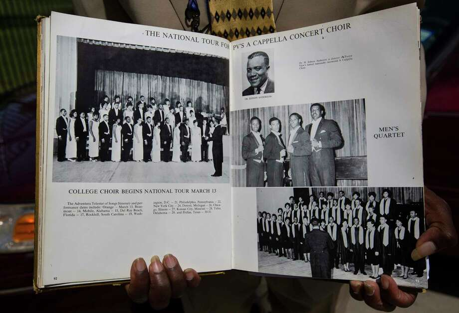 Tom Jones holds his college yearbook from Prairie View A&M, Wednesday, March 21, 2018, in Houston. Jones is on the far left of the first row in the picture on the left hand page. Jones, who sang for Dr. Martin Luther King, Jr. as a member of the Prairie View A&M choir a month before Dr. King was assassinated in 1968, is organizing boys' choirs in four local schools through My Brother's Keeper Houston. ( Mark Mulligan / Houston Chronicle ) Photo: Mark Mulligan, Houston Chronicle / © 2018 Houston Chronicle