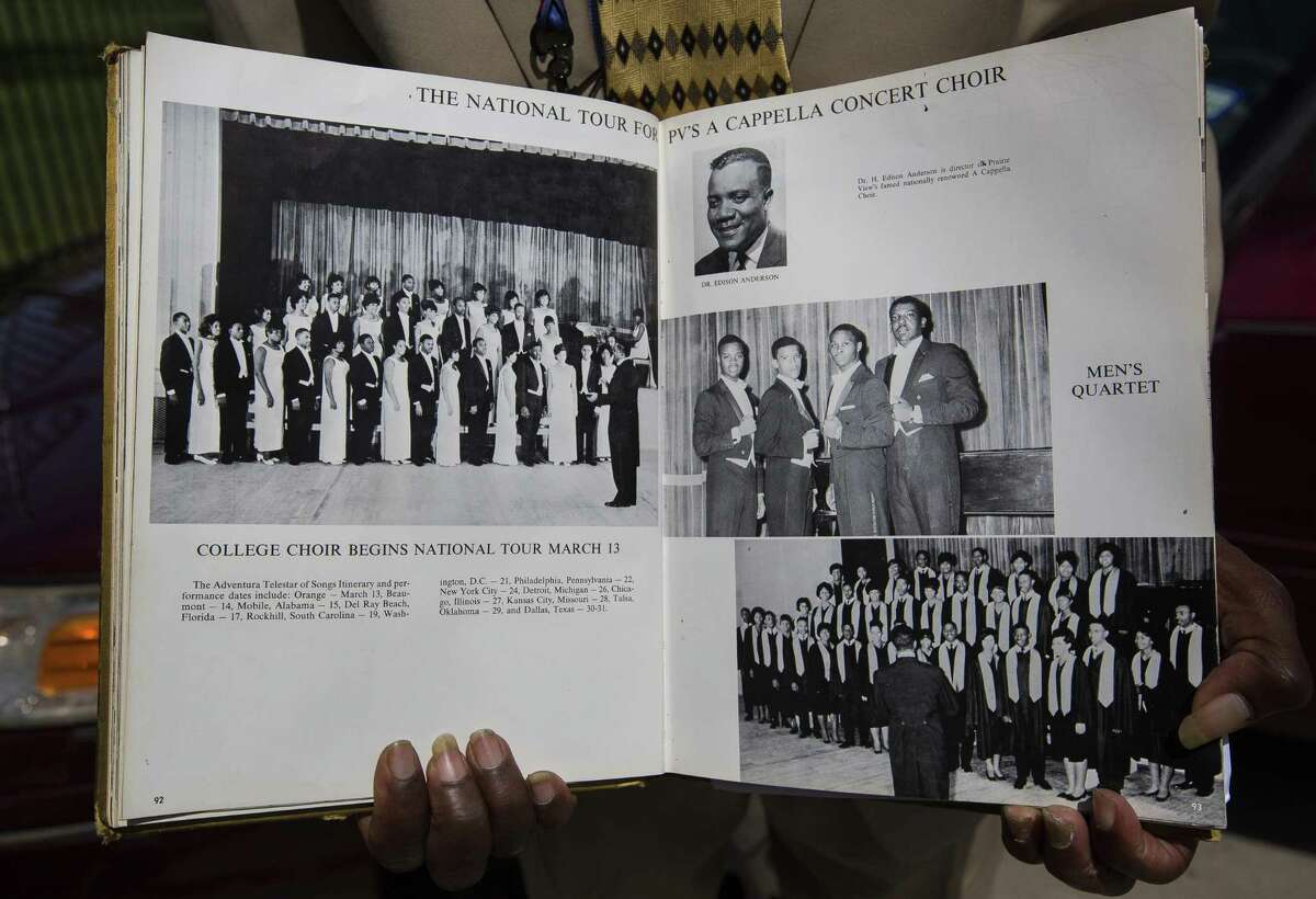 Tom Jones holds his college yearbook from Prairie View A&M, Wednesday, March 21, 2018, in Houston. Jones is on the far left of the first row in the picture on the left hand page. Jones, who sang for Dr. Martin Luther King, Jr. as a member of the Prairie View A&M choir a month before Dr. King was assassinated in 1968, is organizing boys?' choirs in four local schools through My Brother?'s Keeper Houston. ( Mark Mulligan / Houston Chronicle )
