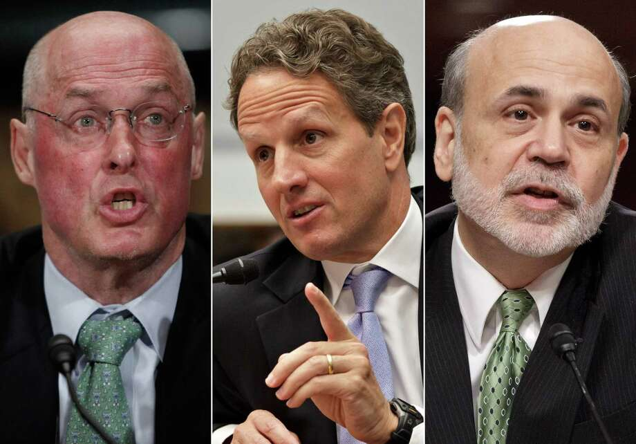 From left, former Treasury Secretary Henry Paulson, former Treasury Secretary Timothy Geithner, and former Federal Reserve Chairman Ben Bernanke. The three top former government leaders devised the 2008 financial bailouts in the George W. Bush and Barack Obama years. Now imagine if Trump's economic team were in charge. Photo: Pablo Martinez Monsivais, J. Sco /Associated Press / AP