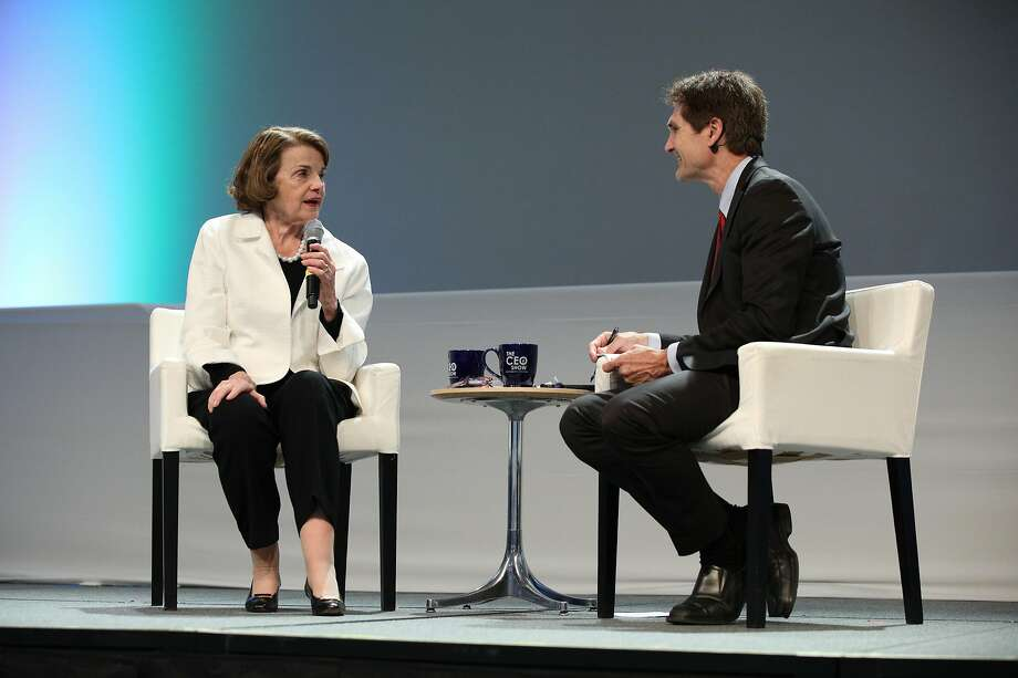 Sen. Dianne Feinstein talks with Carl Guardino, president and CEO of the Silicon Valley Leadership Group, in Sunnyvale. Photo: Jim Gensheimer / Special To The Chronicle