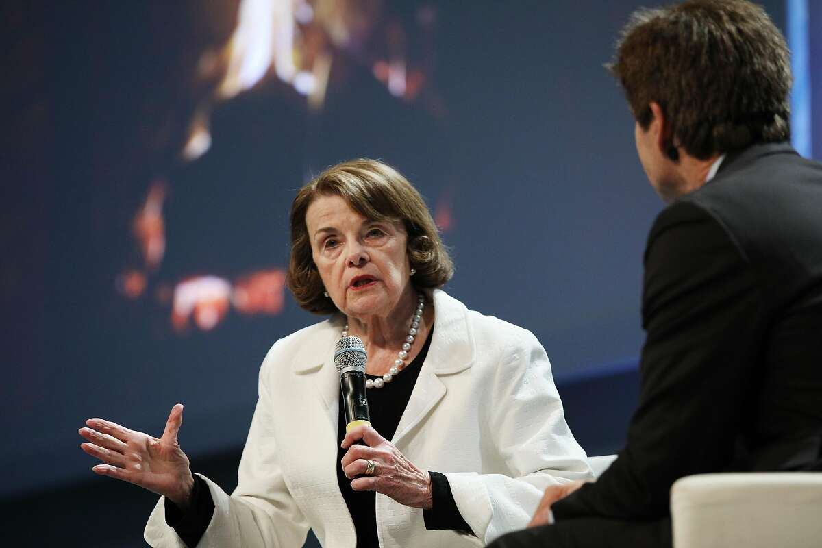 """Senator Diane Feinstein sits down for a """"Fireside Chat"""" with Carl Guardino, CEO of the Silicon Valley Leadership Group, during a luncheon sponsored by the group at Juniper Networks on Monday, April 2, 2018, in Sunnyvale, Calif."""