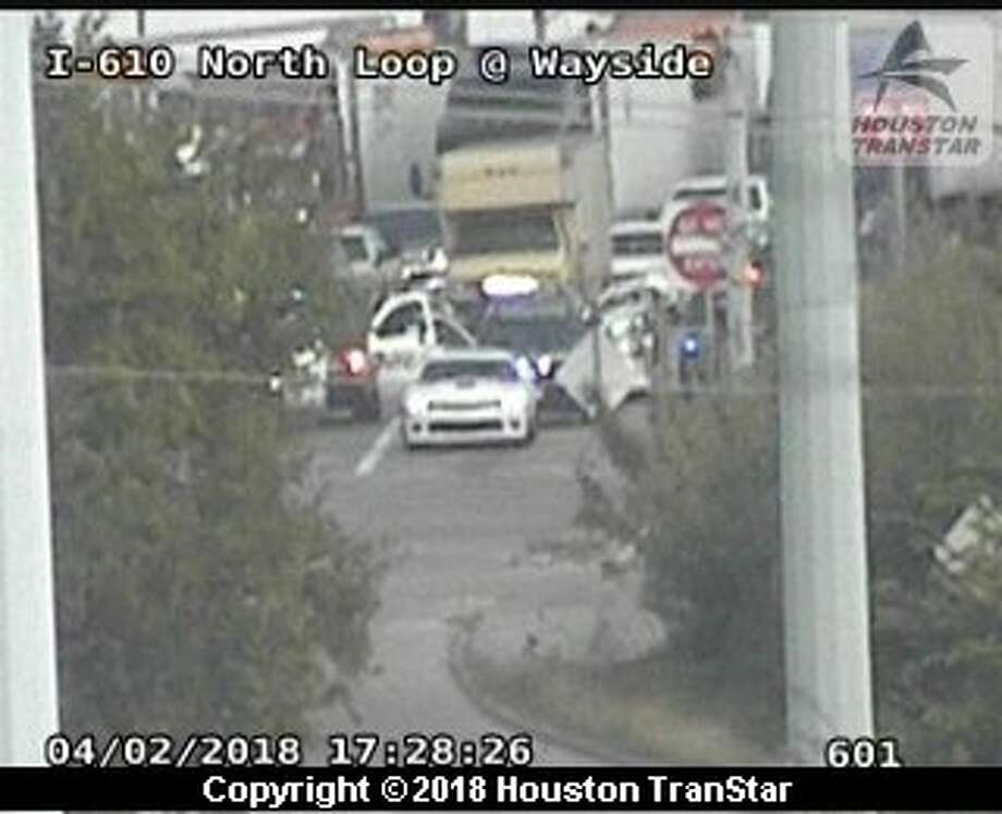 A bit after 5 p.m., a white car that was being chased stopped at the intersection of the I-610 North Loop feeder road and McCarty Street.