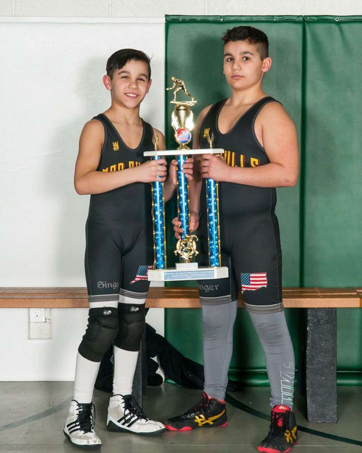 Norwalk Mad Bulls wrestlers, from left, Nicky Singer and Jason Singer, have now won back-to-back New England championships.