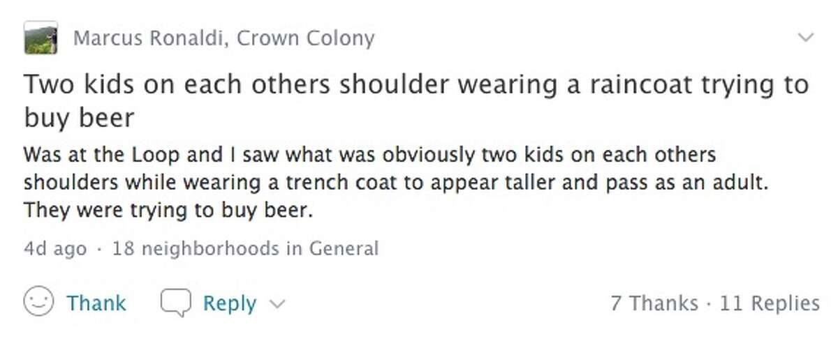 A Nextdoor post alerted neighbors to a creative attempt at underage beer procurement.
