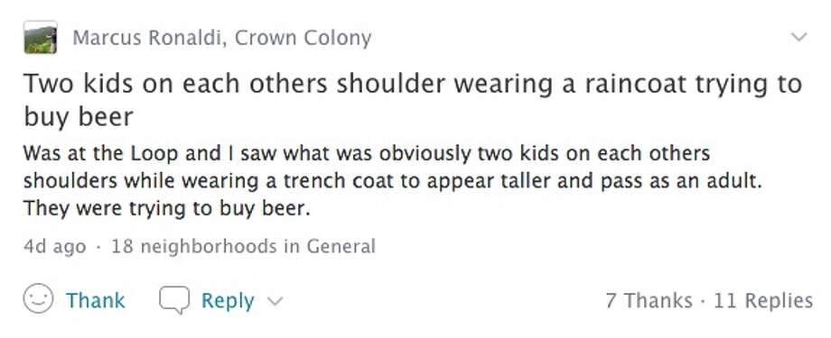 A Nextdoor post alerted neighbors to a creative attempt at underage beer procurement. Photo: Nextdoor