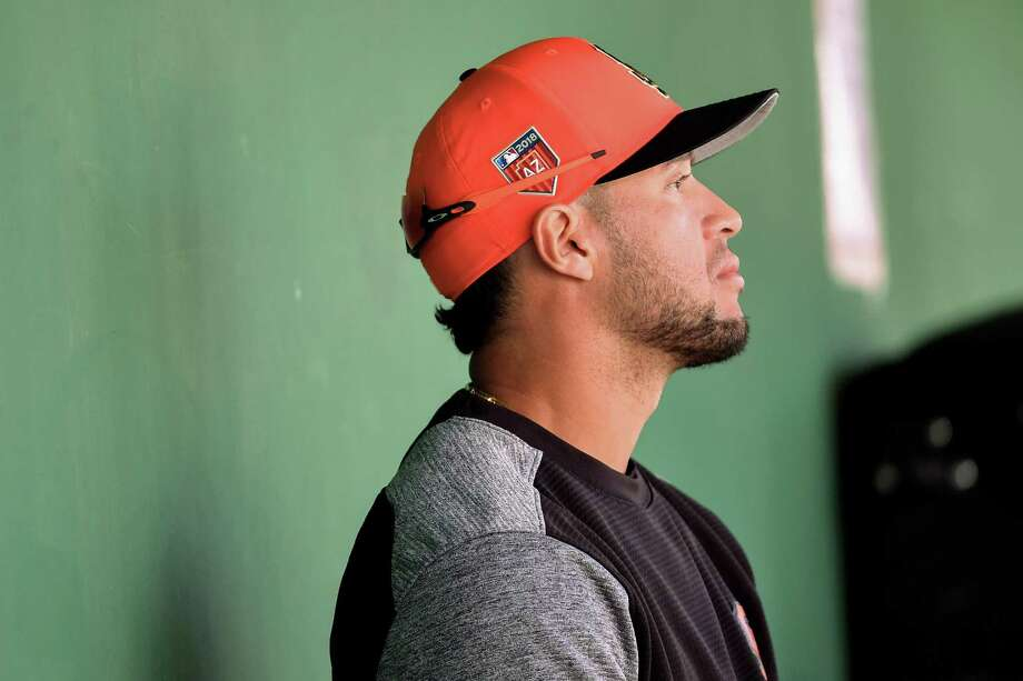 SCOTTSDALE, AZ - FEBRUARY 26:  Gregor Blanco #1 of the San Francisco Giants looks on from the dugout during the spring training game against the Kansas City Royals at Scottsdale Stadium on February 26, 2018 in Scottsdale, Arizona.  (Photo by Jennifer Stewart/Getty Images) Photo: Jennifer Stewart / Getty Images / 2018 Jennifer Stewart