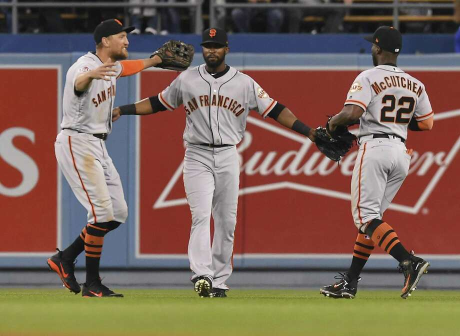 The new outfield — Hunter Pence in left, Austin Jackson in center and former NL MVP Andrew McCutchen in right — gives San Francisco a lot of experience, but thus far the trio has just six hits in 42 at-bats. Newcomers Jackson and McCutchen have just one apiece. Photo: Jayne Kamin-Oncea / Getty Images / 2018 Jayne Kamin-Oncea