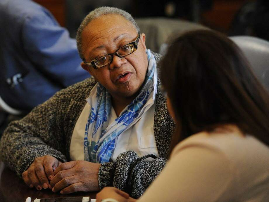Bridgeport City Council Budget Committee Co-Chairs Denise Taylor-Moye, left, and Maria Zambrano Viggiano chat during Maqyor Joe Ganim's briefing on his proposed 2018/19 municipal budget in the Mayor's Conference Room at the Margaret Morton Government Center in Bridgeport, Conn. on Monday, April 2, 2018. Photo: Brian A. Pounds / Hearst Connecticut Media / Connecticut Post