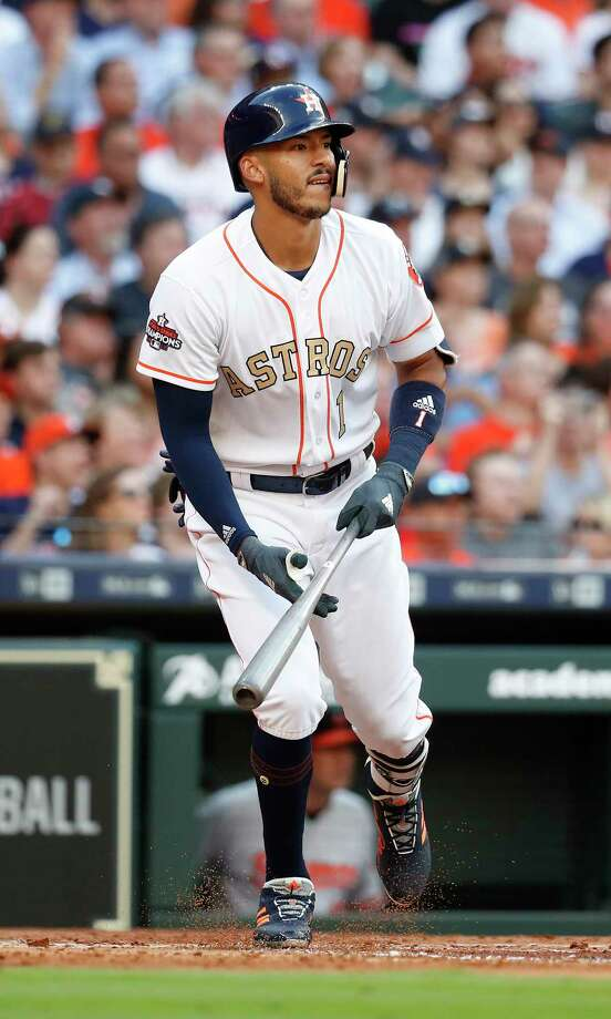 Houston Astros Carlos Correa (1) at bat  in the first inning of the home opener MLB baseball game at Minute Maid Park, Monday, April 2, 2018, in Houston. Photo: Karen Warren, Houston Chronicle / © 2018 Houston Chronicle