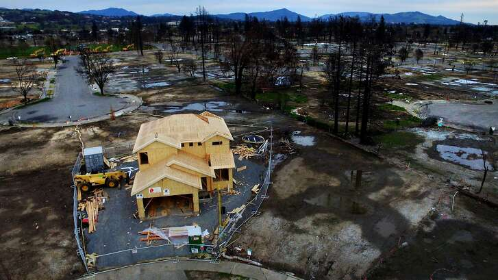 A new home is being built at the end of Astaire Court in the Coffey Park neighborhood, Sunday, March 18, 2018, in Santa Rosa, Calif. The neighborhood was devastated by the Tubbs Fire.