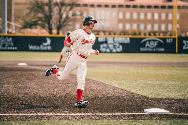 Texas Tech's Grant Little runs toward third base during Saturday's game against West Virginia at Dan Law Field at Rip Griffin Park. Photo courtesy of Texas Tech athletics
