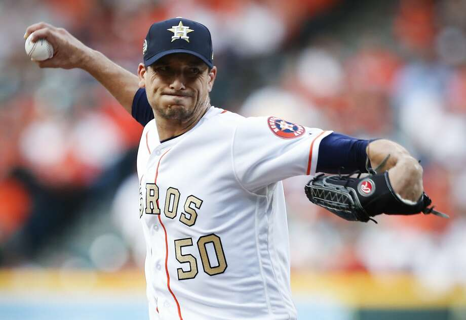 Houston Astros starting pitcher Charlie Morton (50) fires a pitch against the Baltimore Orioles during the second inning at Minute Maid Park on Monday, April 2, 2018, in Houston. Photo: Brett Coomer, Houston Chronicle