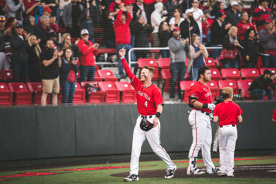 Texas Tech's Grant Little celebrates with the crowd after scoring during Friday's game against West Virginia at Dan Law Field at Rip Griffin Park. Photo courtesy of Texas Tech athletics