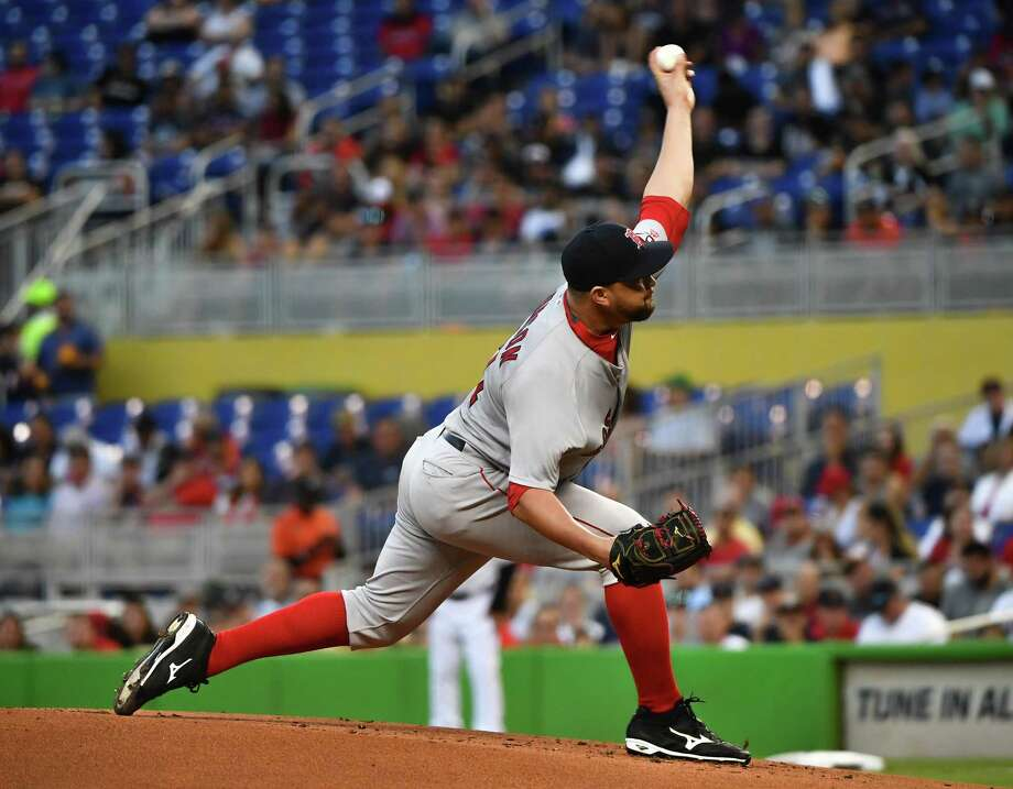MIAMI, FL - APRIL 02:  Brian Johnson #61 of the Boston Red Sox pitches in the first inning against the Miami Marlins at Marlins Park on April 2, 2018 in Miami, Florida. (Photo by Mark Brown/Getty Images) Photo: Mark Brown / 2018 Getty Images