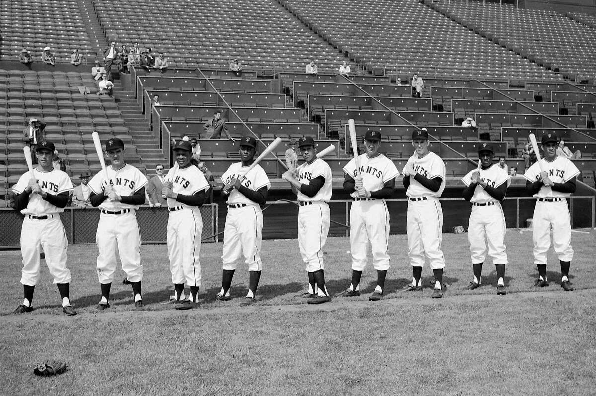 Giants first practice at Seal Stadium on April 15, 1958. Starting line up: Davenport, O'Connell, Mays, Cepeda, Sauer, Spencer, Thomas, Gomez. Starting Pitcher Ruben Gomez.