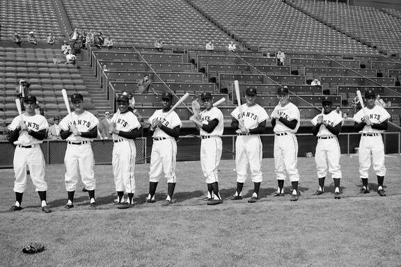 GIANTS2/B/15APR58/SP/FRISCH - Giants first practice at Seal Stadium, April 15, 1958.  Starting line up:  Davenport, O'Connell, Mays, Cepeda, Sauer, Spencer, Thomas, Gomez.  Starting Pitcher Ruben Gomez.  Photo by Art Frisch