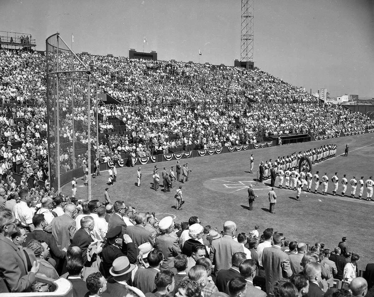 The crowd at the Giants opening game against the Dodgers on April 15, 1958.