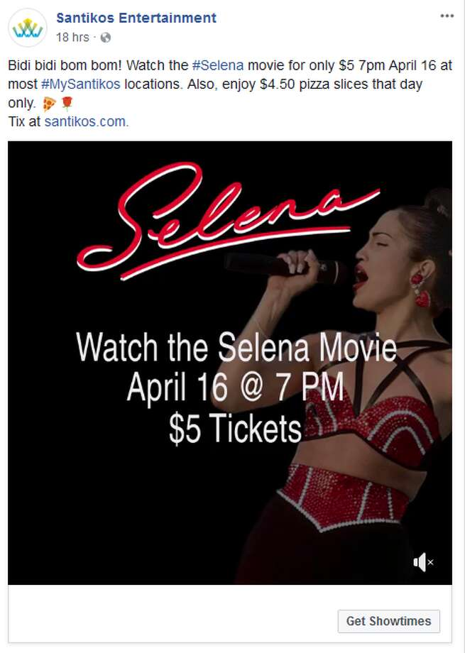 Santikos will host a $5 Selena movie screening on April 16 at select theaters to honor her birthday.