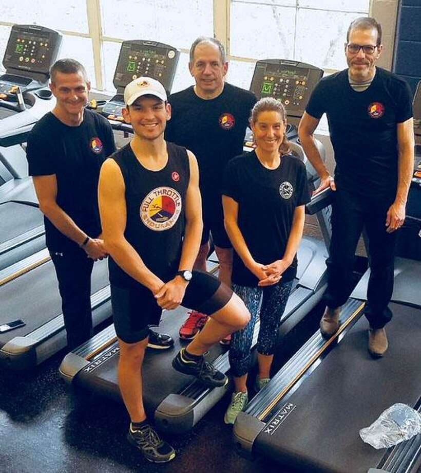 David Martin of New Milford, a USA certified triathlon coach, is the Connecticut coach for Full Throttle Endurance, which meets at the New Milford Fitness & Aquatic Club in town. Martin, front left, is shown with, in front, Rachel Weiss, and in back, from left to right, Brad Amery, Thomas Tazza and Gary Wronker. Missing is Thomas Decandido. Photo: Contributed Photo / Contributed Photo / The News-Times Contributed