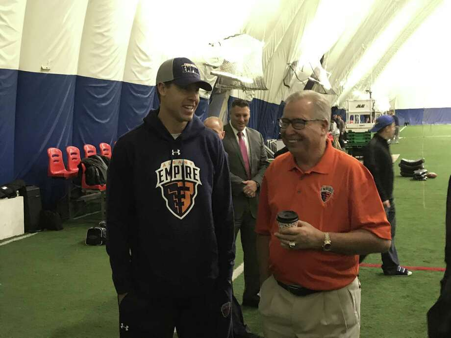 New Albany Empire quarterback Tommy Grady chats with co-owner and former NFL quarterback Ron Jaworski before today's practice. (Mark Singelais/Times Union)