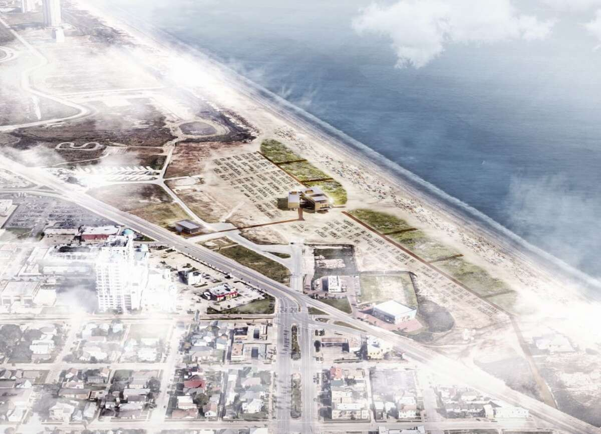An aerial rendering shows plans for a new pavilion and dune restoration at Galveston's Stewart Beach. Take a photo tour of the planned facility...