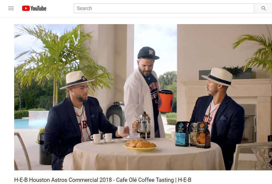 Astros players George Springer, Carlos Correa and Jose Altuve star in a new H-E-B commercial focused on coffee. Image source: YoutubeScroll ahead to see how Astors fans celebrated Houston's first home game of 2018.  Photo: H-E-B Via Youtube