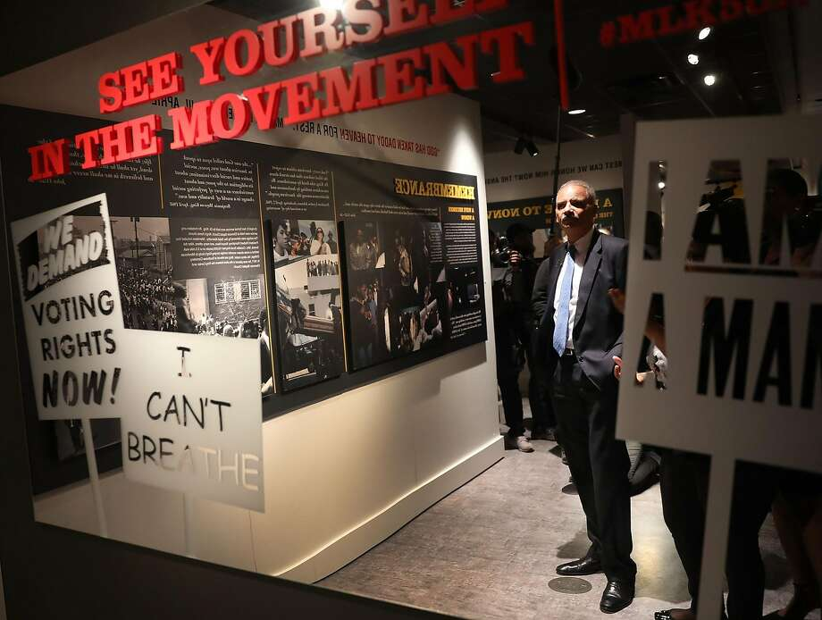 Eric Holder, the first black U.S. attorney general, took part in an event commemorating the 50th anniversary of King's death. Photo: Joe Raedle / Getty Images