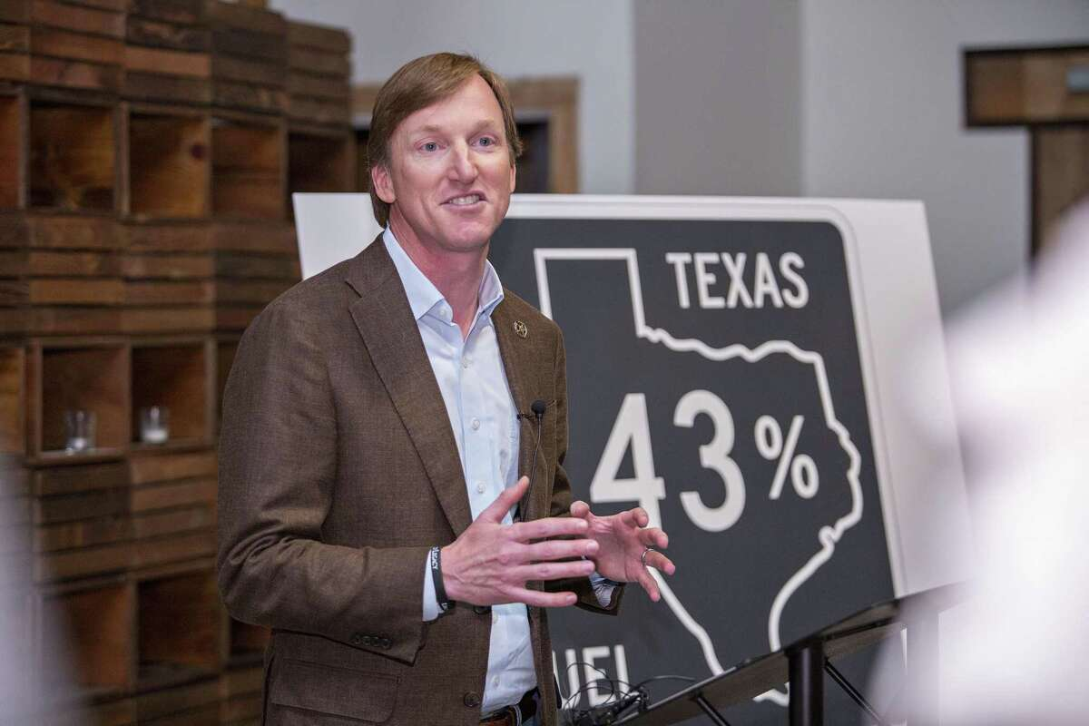 Democratic gubernatorial candidate Andrew White says his proposal for a massive state fleet of self-driving cars and signs at gasoline stations saying how much of the oil used in their gasoline was pumped in Texas would create a half-million jobs - and he would press the federal government to follow suit on gas-station signs to create a half-million more.