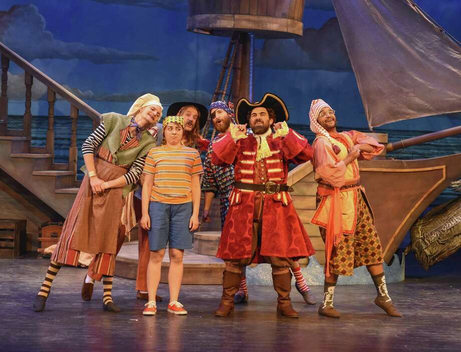 "In ""How I Became a Pirate"" are, in front row, Alex Altshuler as youngster Jeremy Jacob and Steven Miller as Captain Braid Beard. In rear, from right, are Lloyd Harvey II as Swill the Pirate, John Kelley as Max the Pirate,  Nolan Spinks as Pierre the Pirate and Michael Stimac as Sharktooth the Pirate. The family musical will be at the Westport Country Playhouse on April 15 for two performances. Photo: Karen Almond / Contributed Photo"