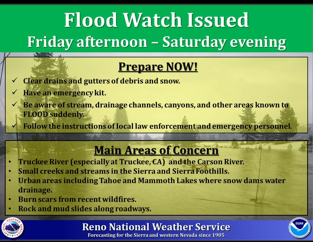"""The National Weather Service Reno issued a flood and storm warning for the northern Sierra: """"A strong atmospheric river will impact the region Friday-Saturday. Significant precipitation & high snow levels will bring an enhanced flooding potential for rivers, creeks, streams and urban areas. Flood preparations should be completed by Thursday afternoon."""""""
