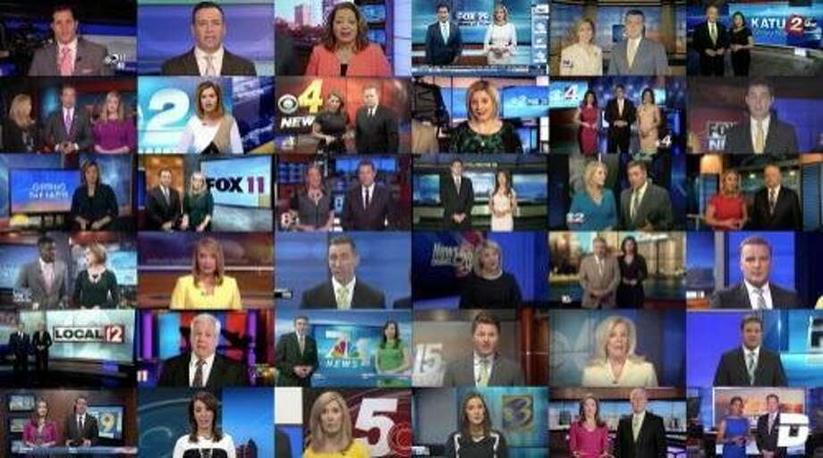 """A Deadspin composite video shows Sinclair Broadcast Group stations reading a scripted statement warning against """"biased and false news."""" (Deadspin)"""
