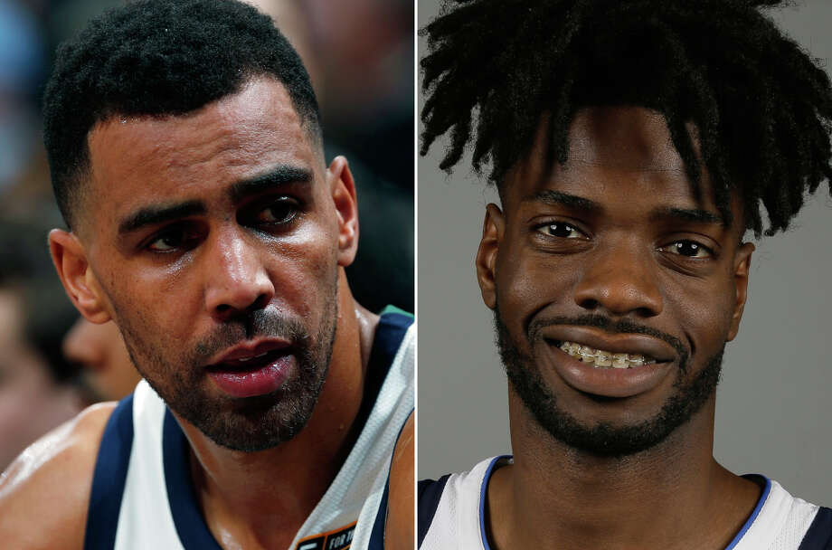 FILE - At left, in a Jan. 5, 2018, file photo, Utah Jazz forward Thabo Sefolosha sits on the bench in the second half of an NBA basketball game in Denver. At right, in a Sept. 25, 2017, file photo, Dallas Mavericks forward Nerlens Noel poses during an NBA basketball team's media day Dallas. Mavericks center Nerlens Noel and Jazz forward Thabo Sefolosha have been suspended five games for violating the NBA's anti-drug program. The league announced the suspensions Tuesday, April 3, 2018. (AP Photo/File) Photo: Associated Press / AP