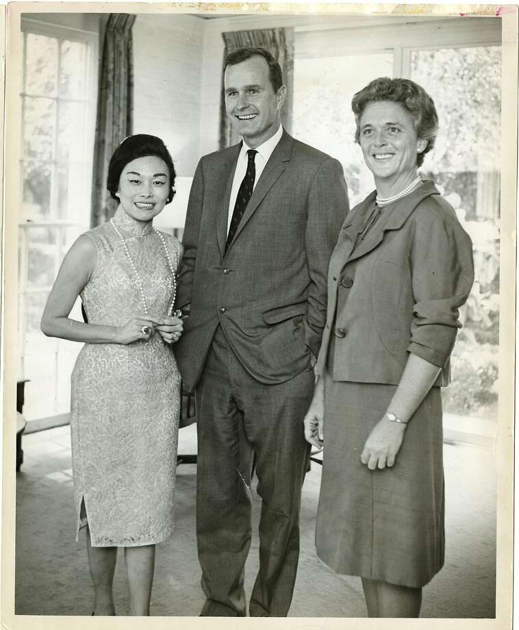 Anna Chennault (left) socialized with George and Barbara Bush years before he became president. Photo: Houston Chronicle 1965