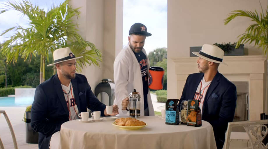 Astros players George Springer, Carlos Correa and Jose Altuve star in a new H-E-B commercial focused on coffee.Scroll ahead to see how Astors fans celebrated Houston's first home game of 2018.  Photo: H-E-B