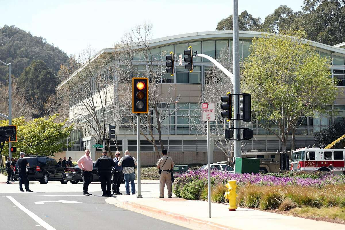 Police respond to active shooter situation at YouTube facility in San Bruno, Calif., on Wednesday, April 4, 2018.
