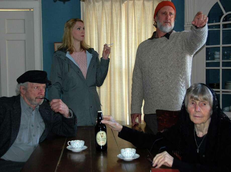 From left, Vintage Players cast members Gerry Matthews, Linda Kaskel, Nat Holmes, and Jane McMillan in rehearsal for 'Outside Mullingar' at Oddfellows Playhouse in Middletown. Photo: Contributed Photo /Vintage Players