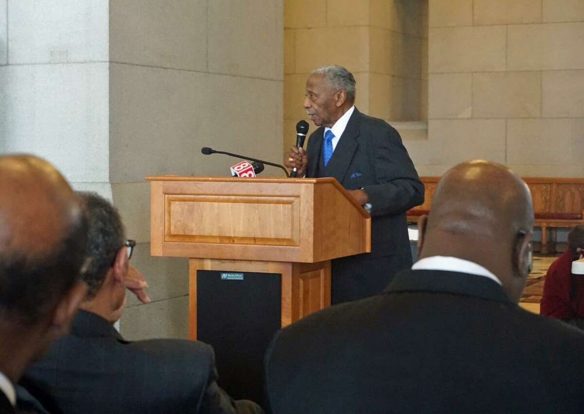 Reverend Robert Perry of Union Baptist Church in Stamford gave a keynote speech at the Capitol in Hartford, Conn. to remember the 50th anniversary of the assassination of Martin Luther King, Jr. on Tuesday April 3, 2018.